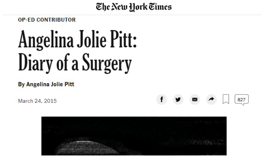 안젤리나 졸리 BRCA로 유방절제술 및 난소절제술 선택함